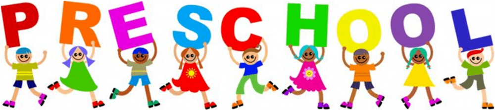 cartoon children holding letter spelling preschool